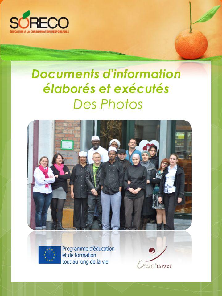 Documents d information élaborés et exécutés Des Photos