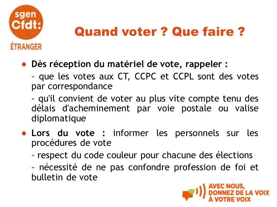 Quand voter ? Que faire ? Dès réception du matériel de vote, rappeler : - que les votes aux CT, CCPC et CCPL sont des votes par correspondance - qu'il
