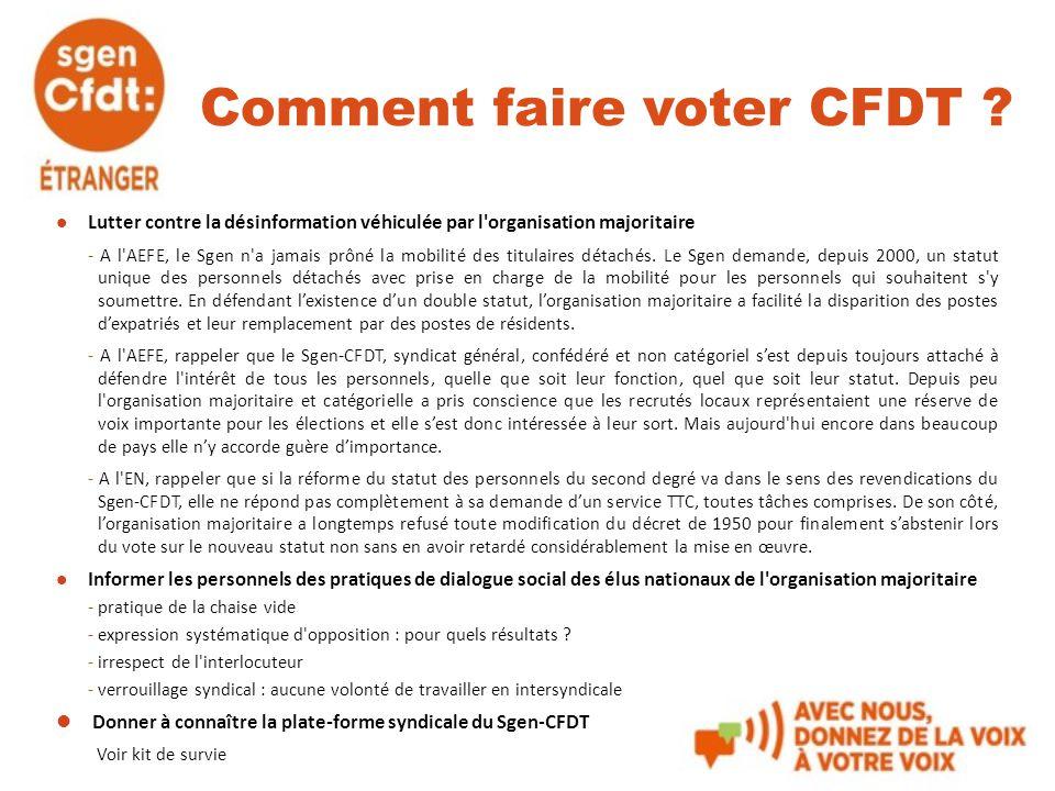 Comment faire voter CFDT ? Lutter contre la désinformation véhiculée par l'organisation majoritaire - A l'AEFE, le Sgen n'a jamais prôné la mobilité d