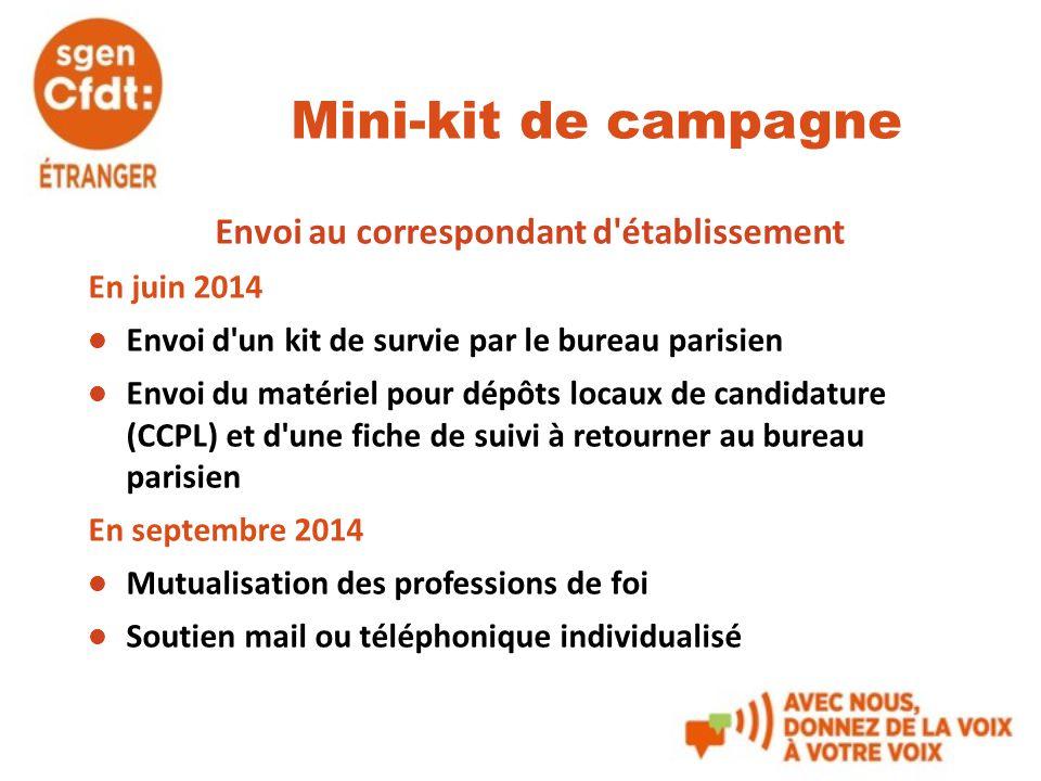 Mini-kit de campagne Envoi au correspondant d'établissement En juin 2014 Envoi d'un kit de survie par le bureau parisien Envoi du matériel pour dépôts
