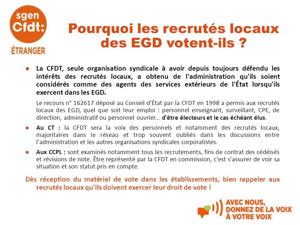 Pourquoi les recrutés locaux des EGD votent-ils ? La CFDT, seule organisation syndicale à avoir depuis toujours défendu les intérêts des recrutés loca