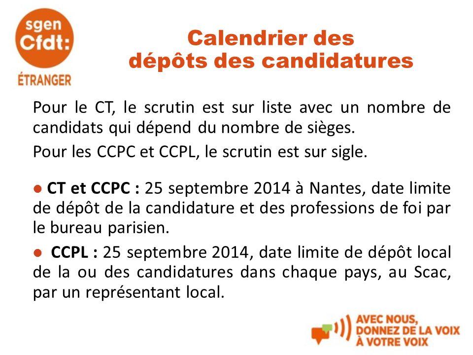 Calendrier des dépôts des candidatures Pour le CT, le scrutin est sur liste avec un nombre de candidats qui dépend du nombre de sièges. Pour les CCPC