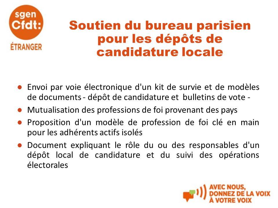 Soutien du bureau parisien pour les dépôts de candidature locale Envoi par voie électronique d'un kit de survie et de modèles de documents - dépôt de