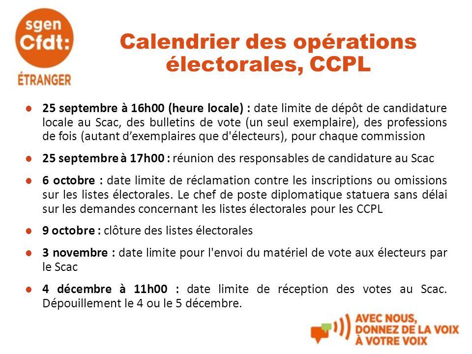 Calendrier des opérations électorales, CCPL 25 septembre à 16h00 (heure locale) : date limite de dépôt de candidature locale au Scac, des bulletins de
