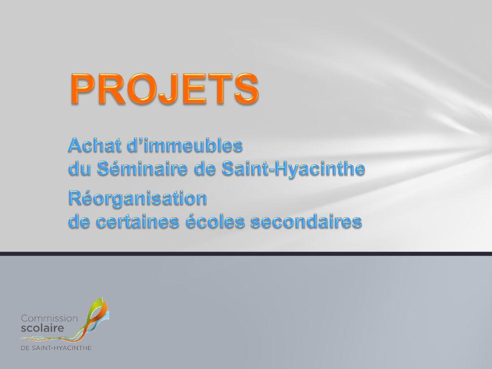 Première partie Présentation du projet d'achat d'une partie des locaux du Séminaire de Saint-Hyacinthe Deuxième partie Présentation de la démarche de réflexion entourant la réorganisation des écoles secondaires Troisième partie Période de questions