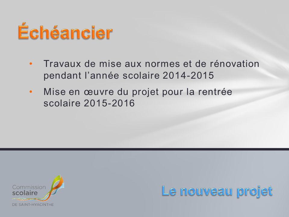 Travaux de mise aux normes et de rénovation pendant l'année scolaire 2014-2015 Mise en œuvre du projet pour la rentrée scolaire 2015-2016