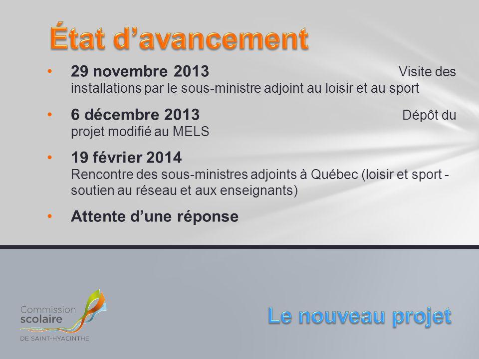 29 novembre 2013 Visite des installations par le sous-ministre adjoint au loisir et au sport 6 décembre 2013 Dépôt du projet modifié au MELS 19 févrie