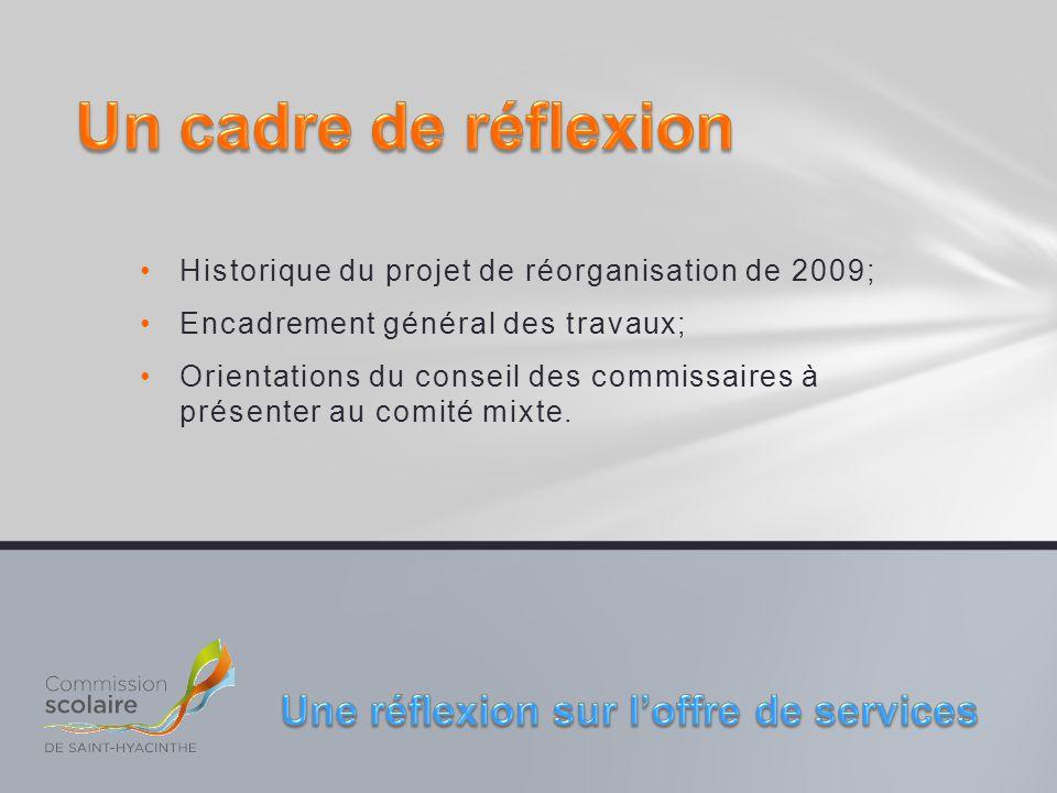 Historique du projet de réorganisation de 2009; Encadrement général des travaux; Orientations du conseil des commissaires à présenter au comité mixte.