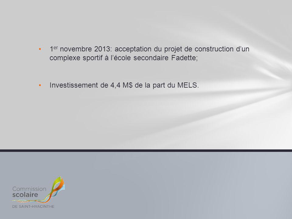 1 er novembre 2013: acceptation du projet de construction d'un complexe sportif à l'école secondaire Fadette; Investissement de 4,4 M$ de la part du M
