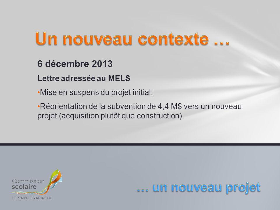 6 décembre 2013 Lettre adressée au MELS Mise en suspens du projet initial; Réorientation de la subvention de 4,4 M$ vers un nouveau projet (acquisitio