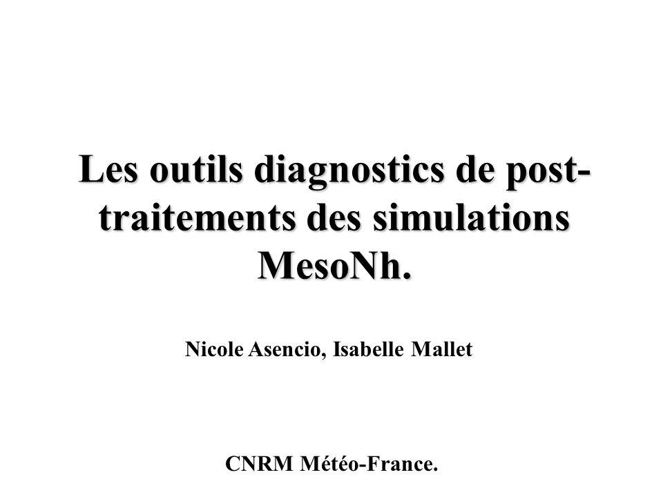 Les outils diagnostics de post- traitements des simulations MesoNh. Nicole Asencio, Isabelle Mallet CNRM Météo-France.