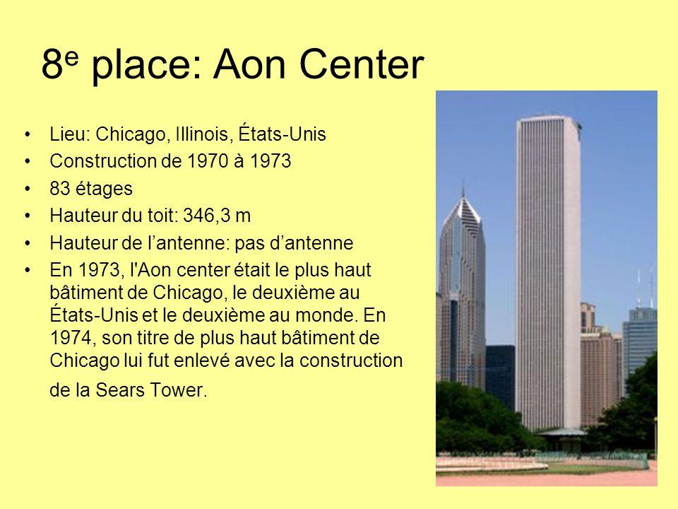 8 e place: Aon Center Lieu: Chicago, Illinois, États-Unis Construction de 1970 à 1973 83 étages Hauteur du toit: 346,3 m Hauteur de l'antenne: pas d'antenne En 1973, l Aon center était le plus haut bâtiment de Chicago, le deuxième au États-Unis et le deuxième au monde.