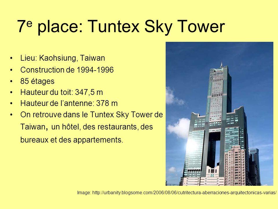 7 e place: Tuntex Sky Tower Lieu: Kaohsiung, Taiwan Construction de 1994-1996 85 étages Hauteur du toit: 347,5 m Hauteur de l'antenne: 378 m On retrouve dans le Tuntex Sky Tower de Taiwan, un hôtel, des restaurants, des bureaux et des appartements.