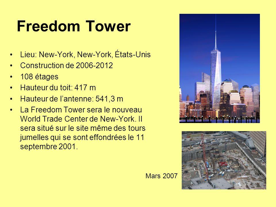 Freedom Tower Lieu: New-York, New-York, États-Unis Construction de 2006-2012 108 étages Hauteur du toit: 417 m Hauteur de l'antenne: 541,3 m La Freedom Tower sera le nouveau World Trade Center de New-York.
