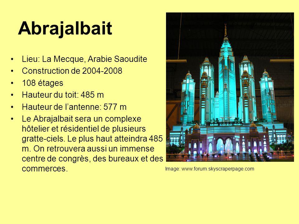 Abrajalbait Lieu: La Mecque, Arabie Saoudite Construction de 2004-2008 108 étages Hauteur du toit: 485 m Hauteur de l'antenne: 577 m Le Abrajalbait sera un complexe hôtelier et résidentiel de plusieurs gratte-ciels.