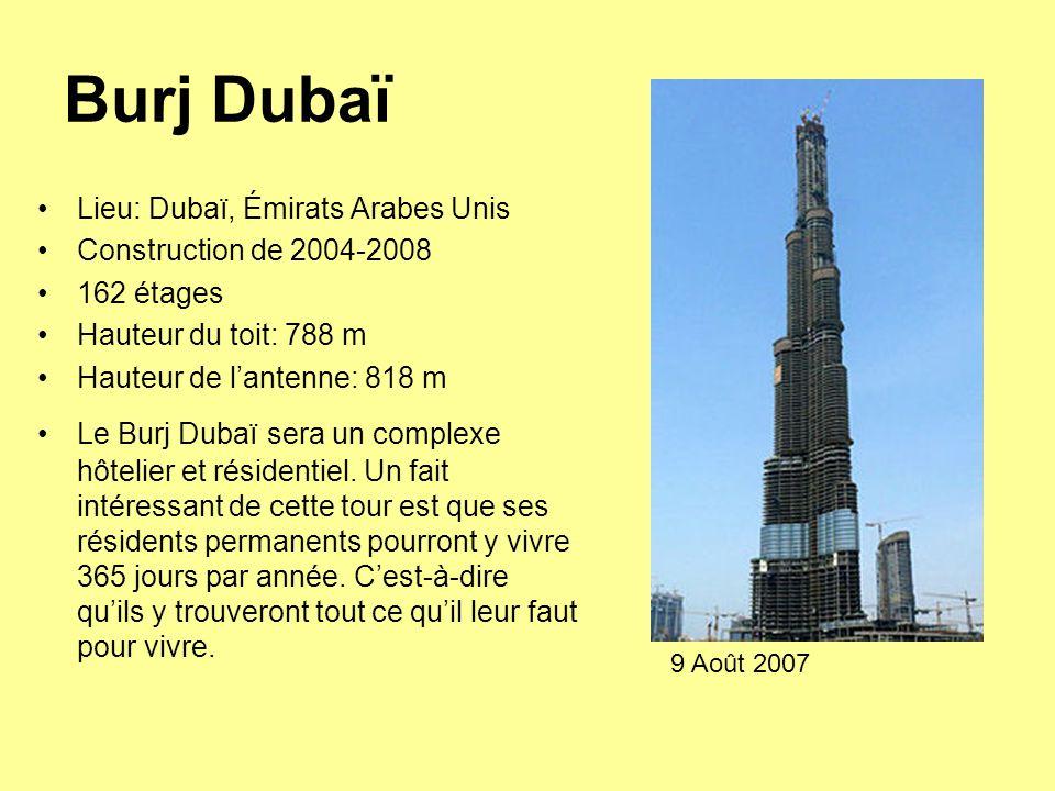 Burj Dubaï Lieu: Dubaï, Émirats Arabes Unis Construction de 2004-2008 162 étages Hauteur du toit: 788 m Hauteur de l'antenne: 818 m Le Burj Dubaï sera un complexe hôtelier et résidentiel.