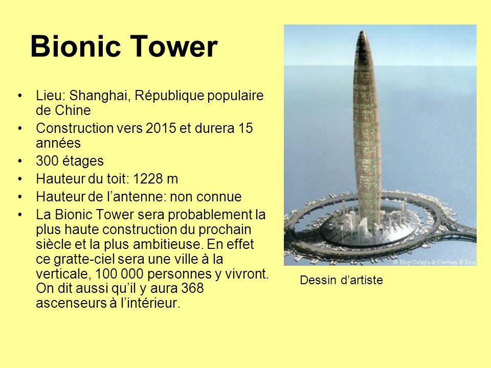 Bionic Tower Lieu: Shanghai, République populaire de Chine Construction vers 2015 et durera 15 années 300 étages Hauteur du toit: 1228 m Hauteur de l'antenne: non connue La Bionic Tower sera probablement la plus haute construction du prochain siècle et la plus ambitieuse.