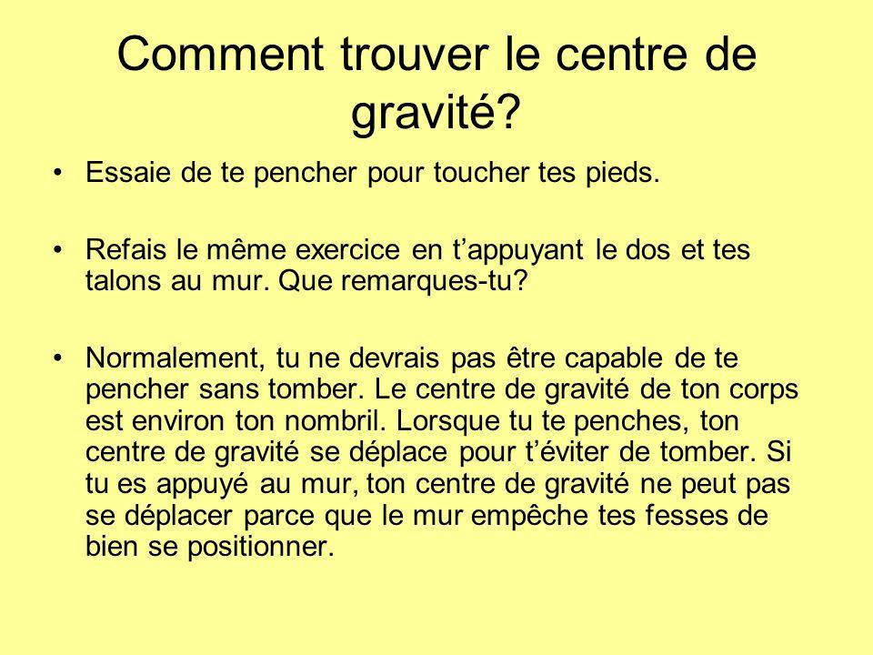 Comment trouver le centre de gravité.Essaie de te pencher pour toucher tes pieds.
