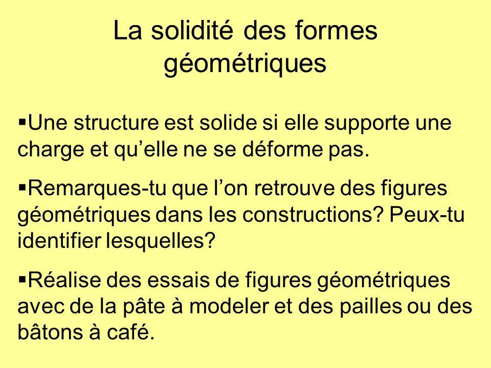 La solidité des formes géométriques  Une structure est solide si elle supporte une charge et qu'elle ne se déforme pas.