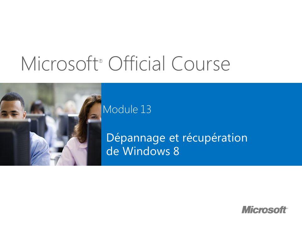 Microsoft ® Official Course Module 13 Dépannage et récupération de Windows 8