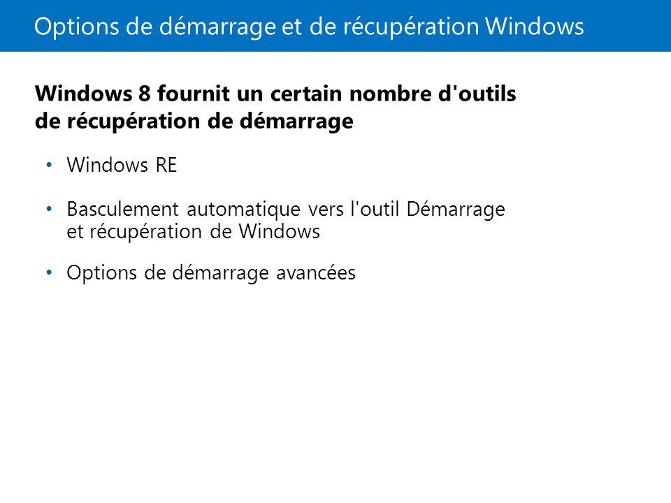 Options de démarrage et de récupération Windows Windows 8 fournit un certain nombre d outils de récupération de démarrage Windows RE Basculement automatique vers l outil Démarrage et récupération de Windows Options de démarrage avancées