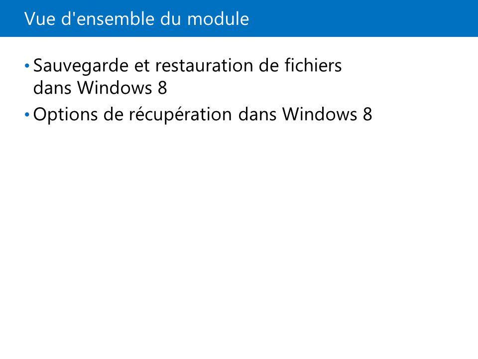 Leçon 1: Sauvegarde et restauration de fichiers dans Windows 8 Nécessité d une sauvegarde des données Outils d historique et de récupération de fichiers Démonstration : Comment préparer la récupération de fichiers