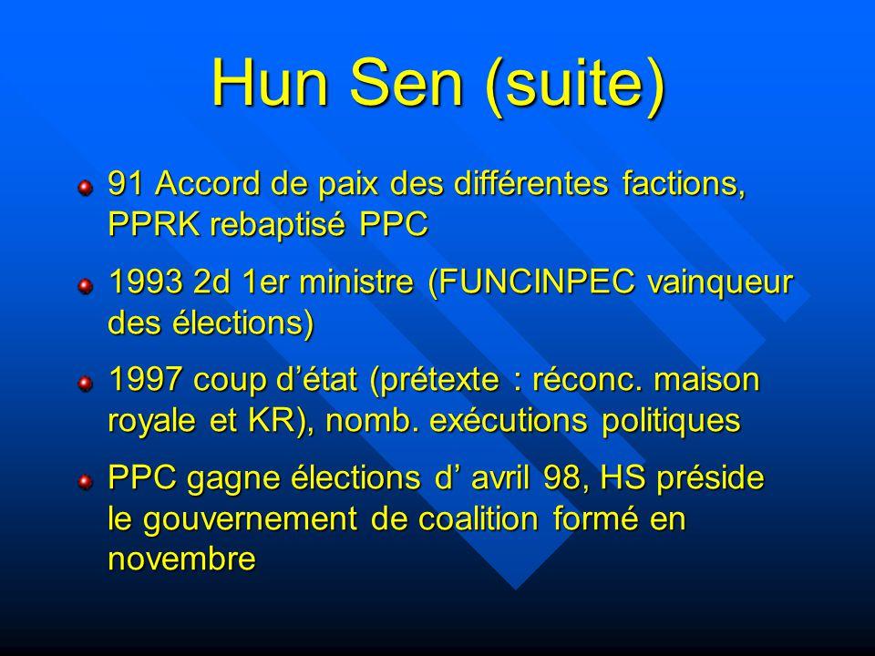 Hun Sen (suite) 91 Accord de paix des différentes factions, PPRK rebaptisé PPC 1993 2d 1er ministre (FUNCINPEC vainqueur des élections) 1997 coup d'ét