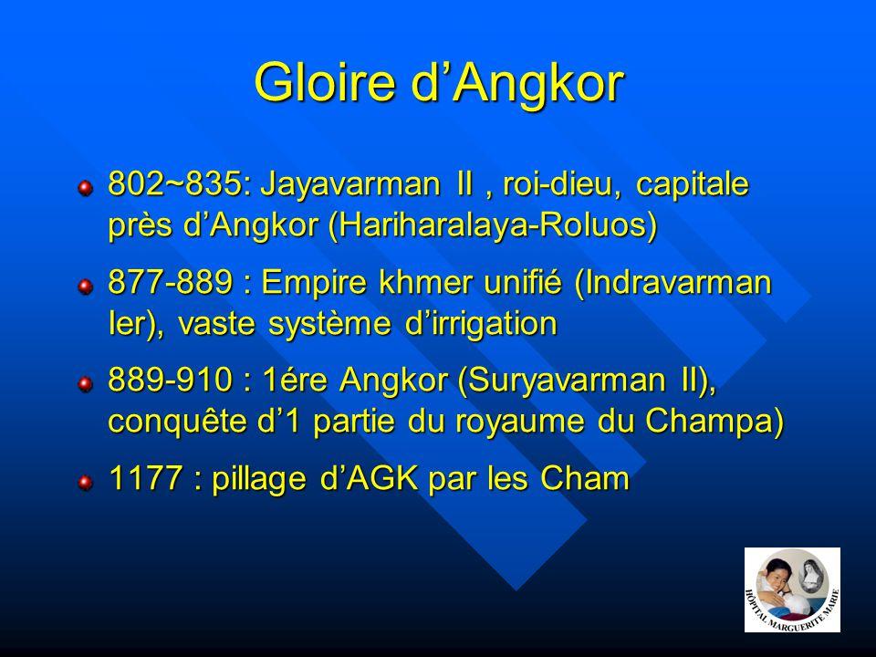 Gloire d'Angkor 802~835: Jayavarman II, roi-dieu, capitale près d'Angkor (Hariharalaya-Roluos) 877-889 : Empire khmer unifié (Indravarman Ier), vaste