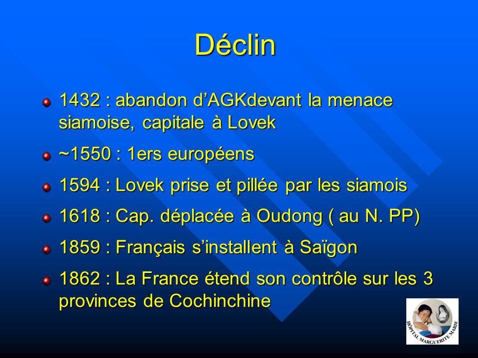 Déclin 1432 : abandon d'AGKdevant la menace siamoise, capitale à Lovek ~1550 : 1ers européens 1594 : Lovek prise et pillée par les siamois 1618 : Cap.