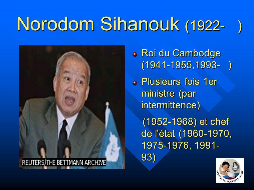 Norodom Sihanouk Né à Phnom Penh en 1922 Etudes à Saïgon puis Paris Succède en 1941 au roi Sisowath Monivong son gd-père Milite pour l'indépendance du Cambodge obtenue en 1953 Abdication en faveur de son père en 1955,formation d'1 parti (ts les sièges à l'AN), socialisme d'insp.
