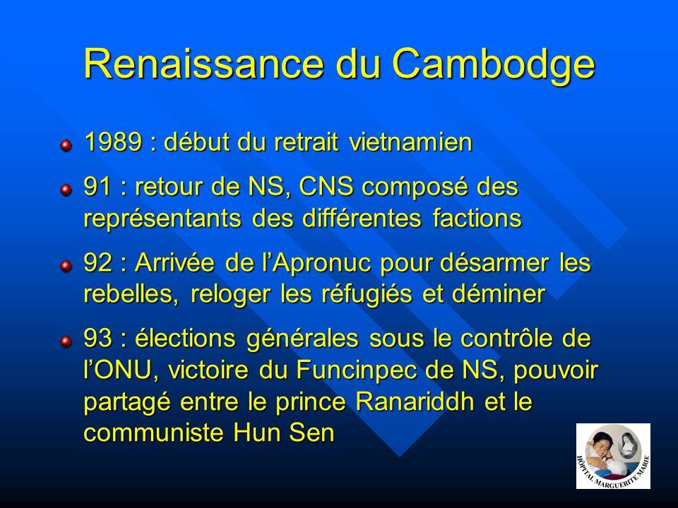 Renaissance du Cambodge 1989 : début du retrait vietnamien 91 : retour de NS, CNS composé des représentants des différentes factions 92 : Arrivée de l