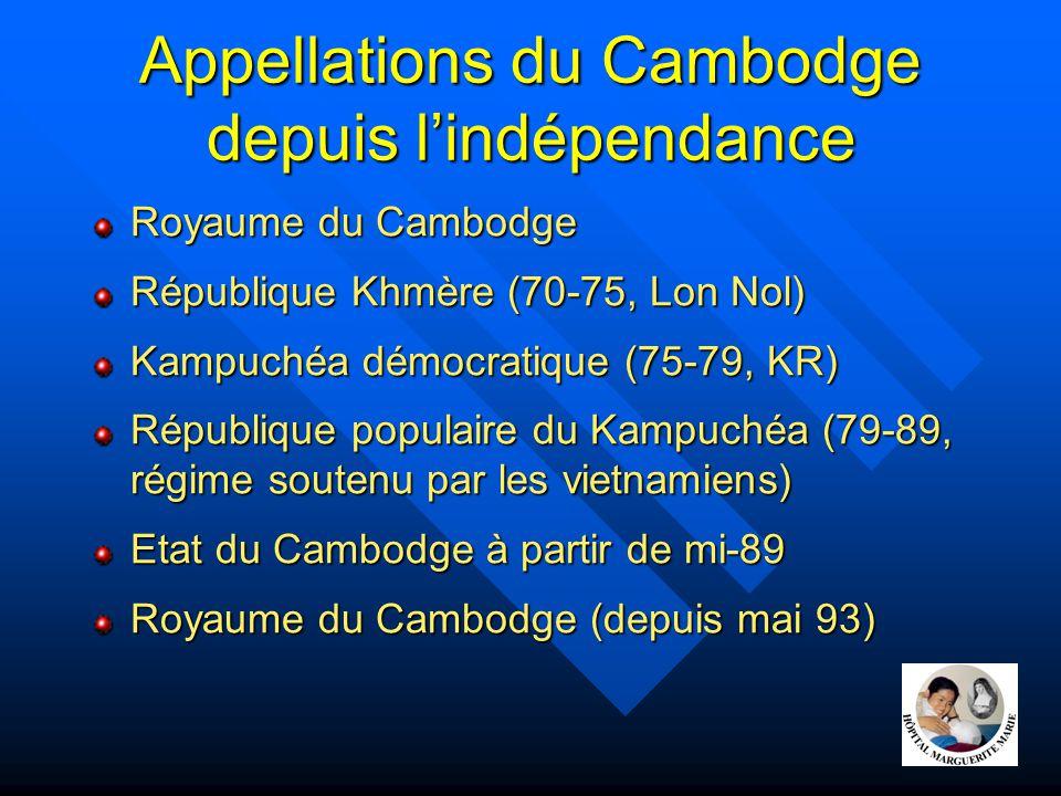Appellations du Cambodge depuis l'indépendance Royaume du Cambodge République Khmère (70-75, Lon Nol) Kampuchéa démocratique (75-79, KR) République po