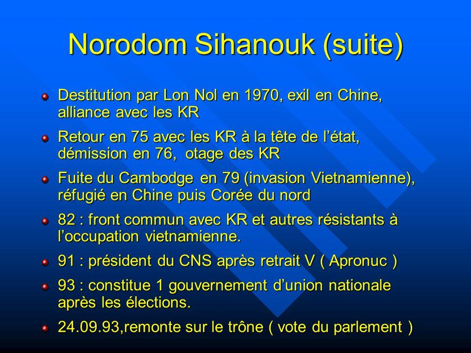 Protectorat français 1863 : Traité avec Norodom Ier 1866 : Phnom Penh capitale du Cambodge 1892 : provinces du Nord-Ouest reprises aux siamois par les troupes coloniales 1904 : mort de Norodom, Sisovath roi jusqu'en 1927 1941 : N-O envahi par les thaïlandais 1942 : N.