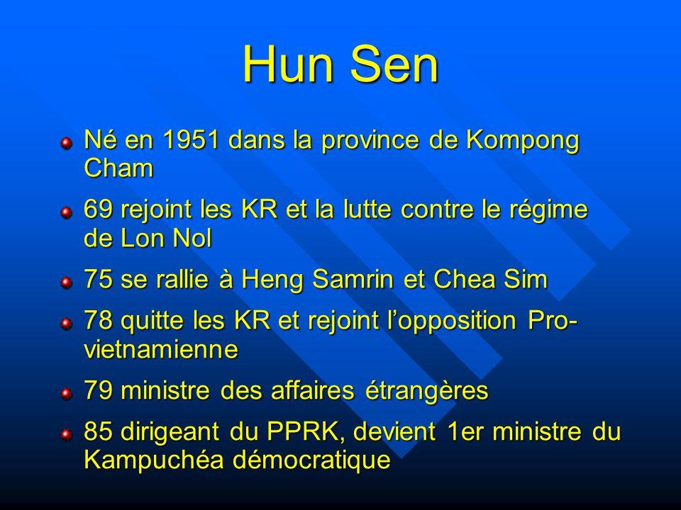 Hun Sen (suite) 91 Accord de paix des différentes factions, PPRK rebaptisé PPC 1993 2d 1er ministre (FUNCINPEC vainqueur des élections) 1997 coup d'état (prétexte : réconc.