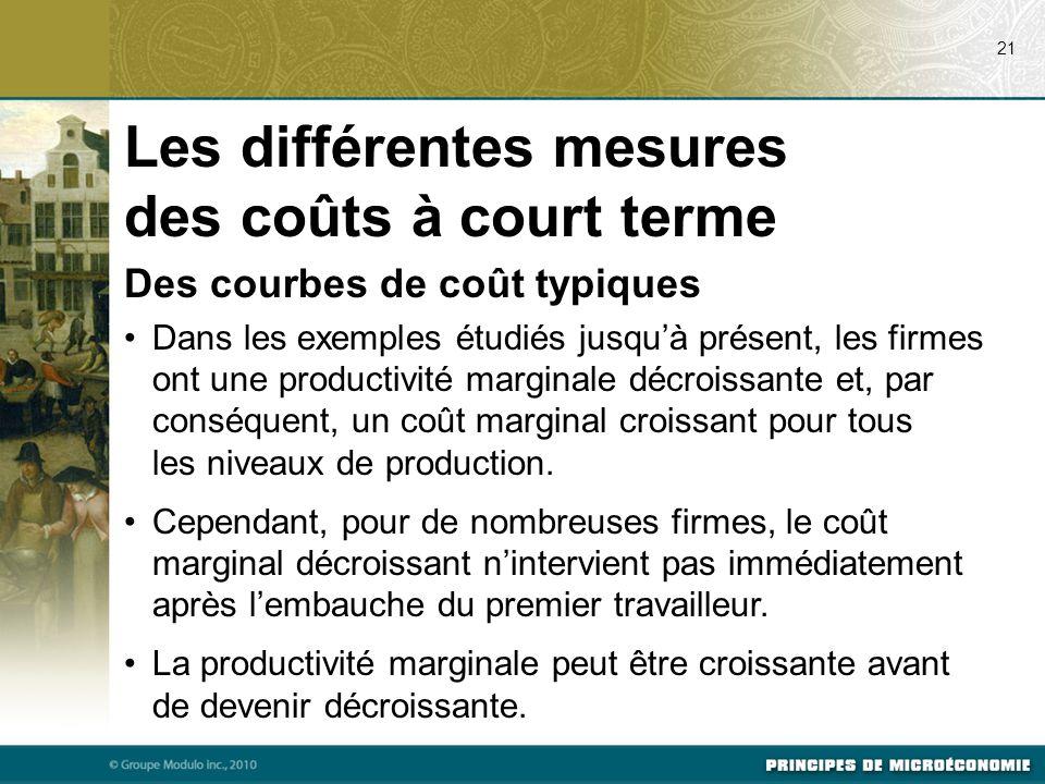 Des courbes de coût typiques Dans les exemples étudiés jusqu'à présent, les firmes ont une productivité marginale décroissante et, par conséquent, un coût marginal croissant pour tous les niveaux de production.