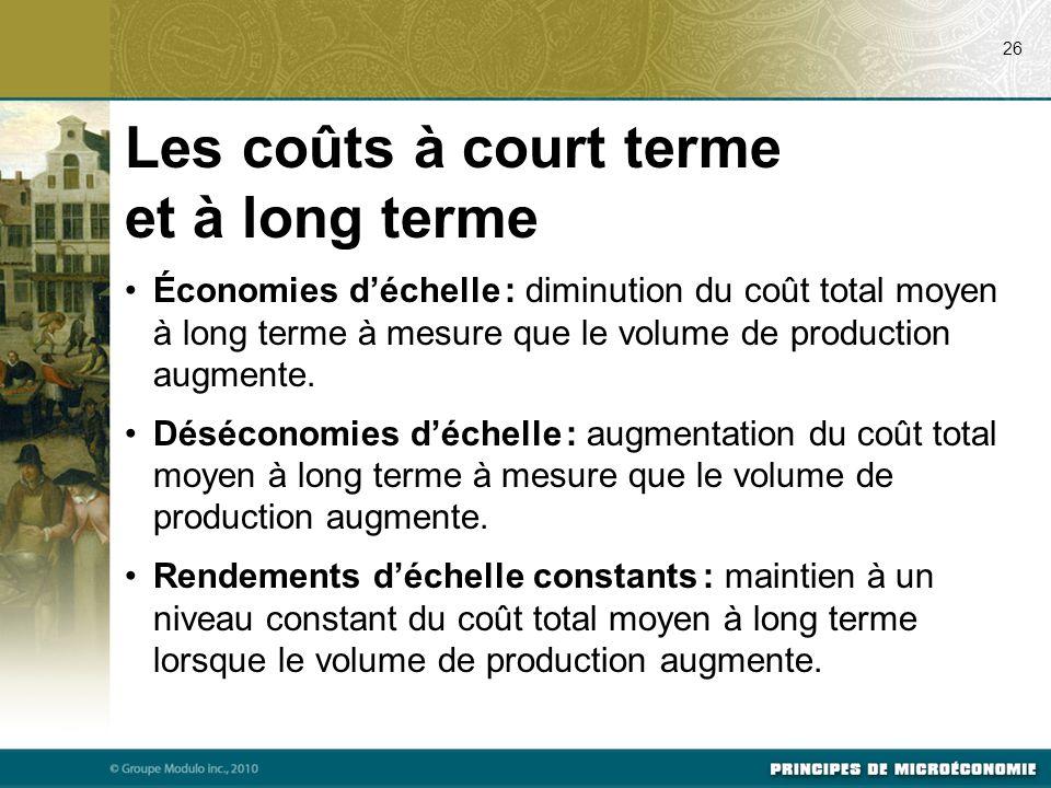 Économies d'échelle : diminution du coût total moyen à long terme à mesure que le volume de production augmente.