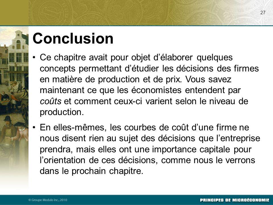 Ce chapitre avait pour objet d'élaborer quelques concepts permettant d'étudier les décisions des firmes en matière de production et de prix.
