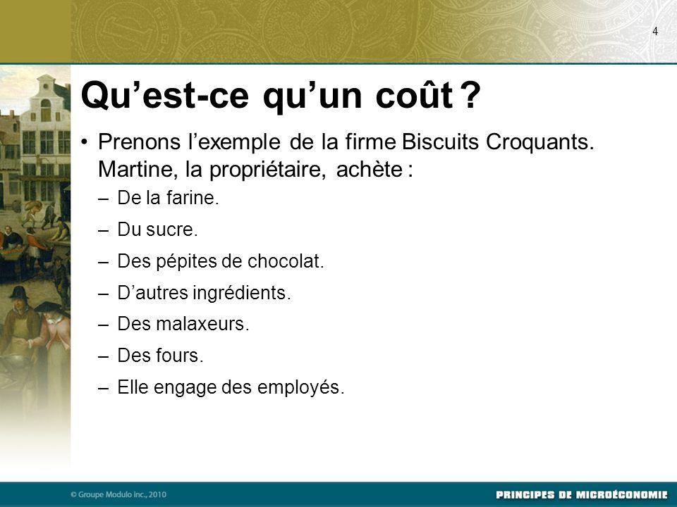 Prenons l'exemple de la firme Biscuits Croquants.Martine, la propriétaire, achète : –De la farine.