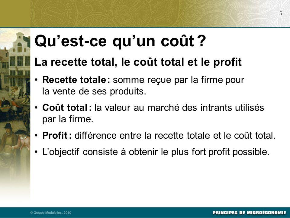 La recette total, le coût total et le profit Recette totale : somme reçue par la firme pour la vente de ses produits.