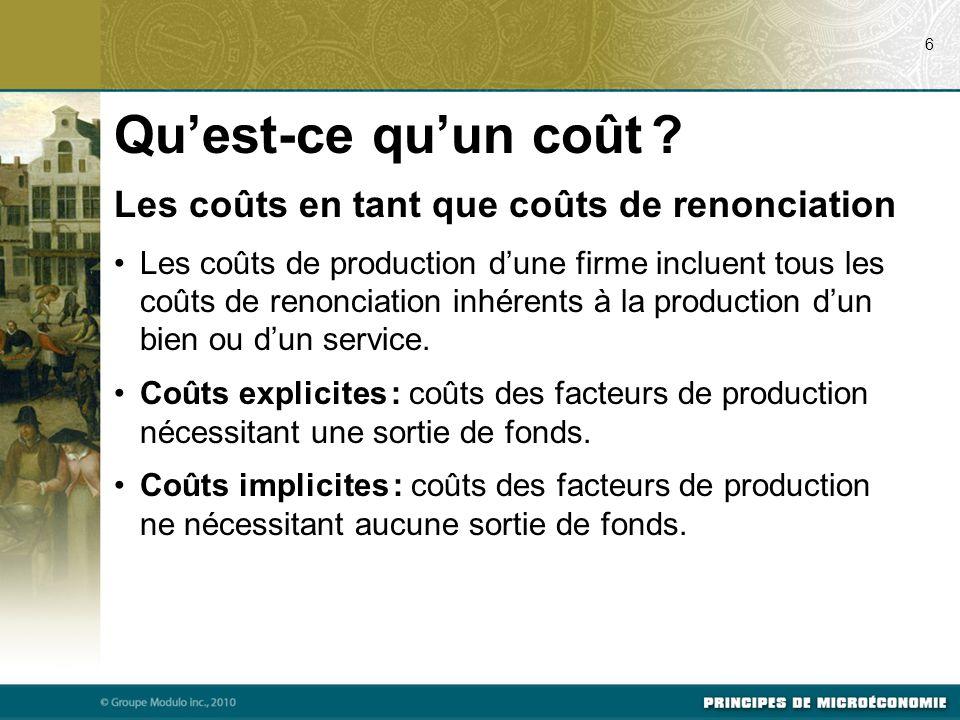 Le coût du capital en tant que coût de renonciation Le coût de renonciation du capital financier investi constitue un coût implicite important pour toute entreprise.