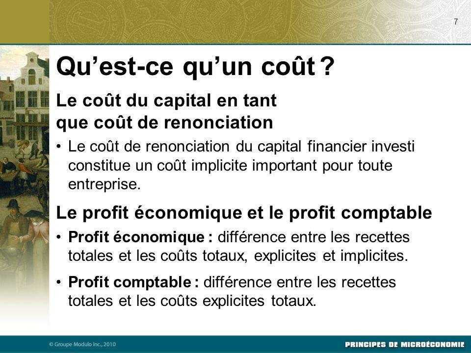 18 Les différentes mesures des coûts à court terme CTM = CT / Q Cm =  CT /  Q