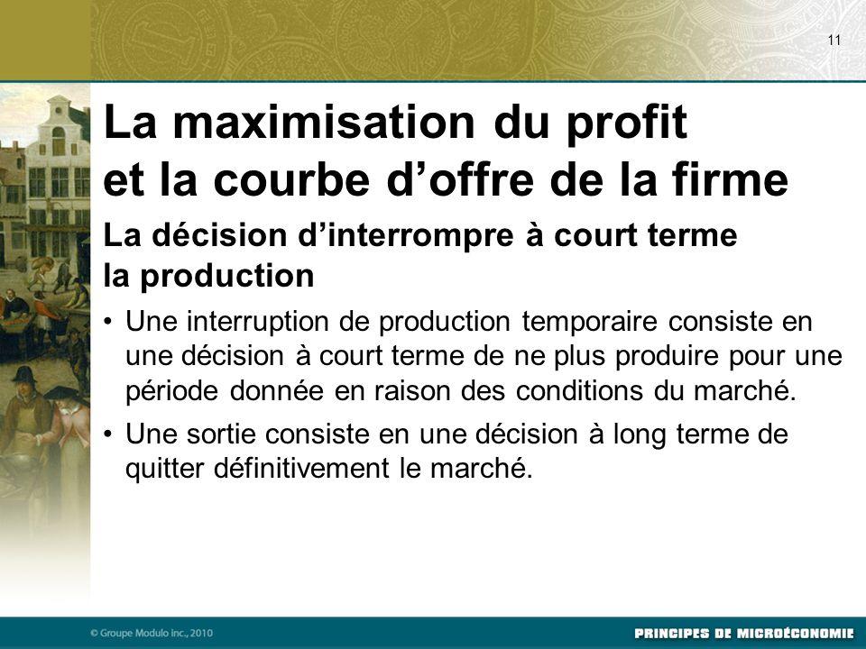 La décision d'interrompre à court terme la production Une interruption de production temporaire consiste en une décision à court terme de ne plus produire pour une période donnée en raison des conditions du marché.