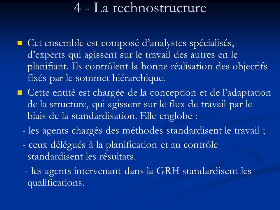 4 - La technostructure Cet ensemble est composé d'analystes spécialisés, d'experts qui agissent sur le travail des autres en le planifiant. Ils contrô