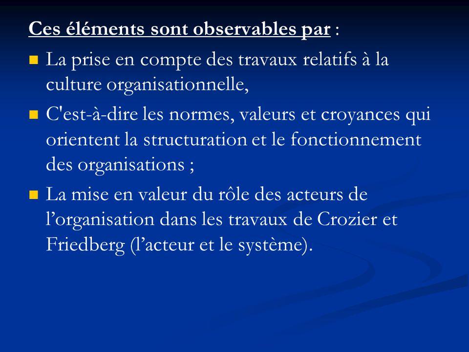 Ces éléments sont observables par : La prise en compte des travaux relatifs à la culture organisationnelle, C'est-à-dire les normes, valeurs et croyan
