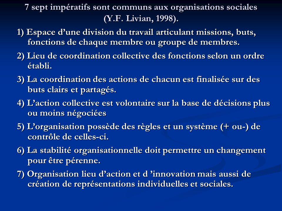 7 sept impératifs sont communs aux organisations sociales (Y.F. Livian, 1998). 1) Espace d'une division du travail articulant missions, buts, fonction