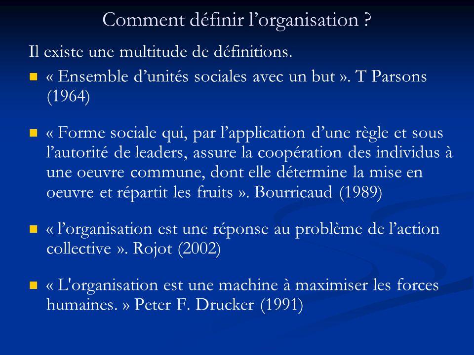 Comment définir l'organisation ? Il existe une multitude de définitions. « Ensemble d'unités sociales avec un but ». T Parsons (1964) « Forme sociale