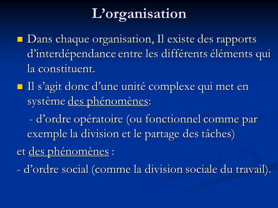 L'organisation Dans chaque organisation, Il existe des rapports d'interdépendance entre les différents éléments qui la constituent. Dans chaque organi