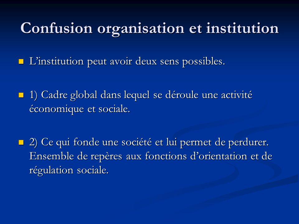 Confusion organisation et institution L'institution peut avoir deux sens possibles. L'institution peut avoir deux sens possibles. 1) Cadre global dans