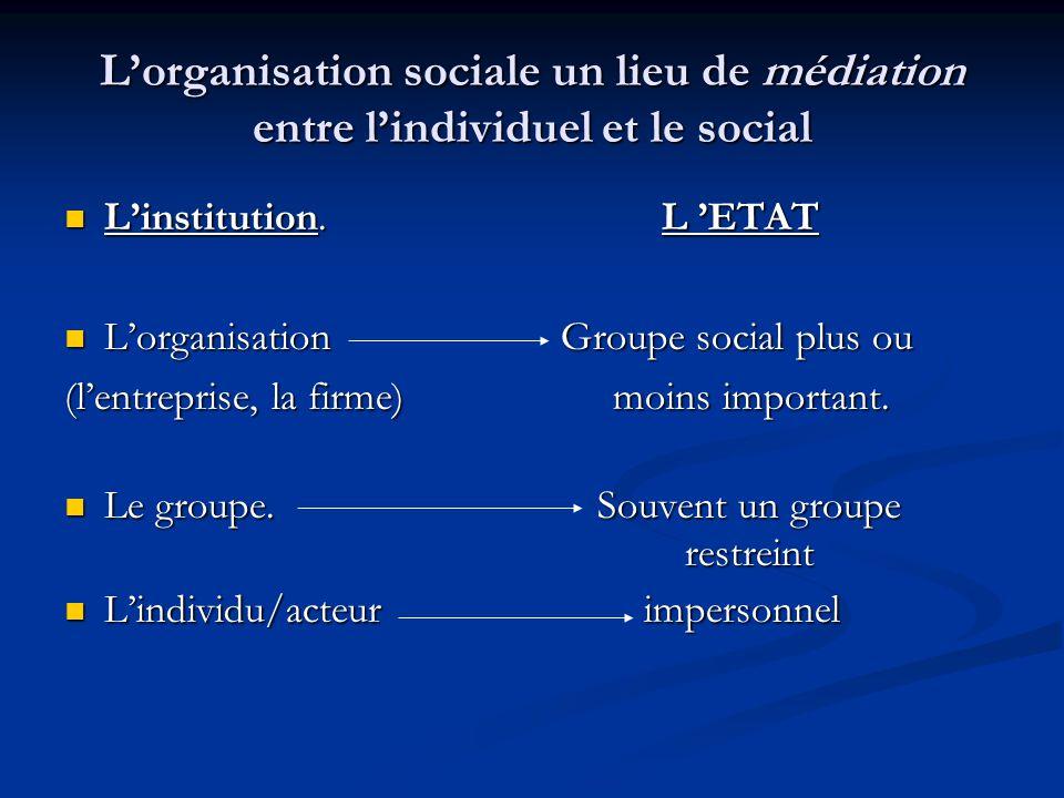 L'organisation sociale un lieu de médiation entre l'individuel et le social L'institution. L 'ETAT L'institution. L 'ETAT L'organisation Groupe social