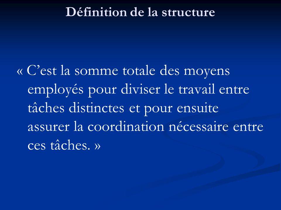 Définition de la structure « C'est la somme totale des moyens employés pour diviser le travail entre tâches distinctes et pour ensuite assurer la coordination nécessaire entre ces tâches.